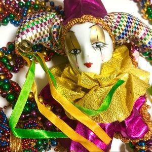 Colourful beaded/ceramic Mardi Gras Decoration